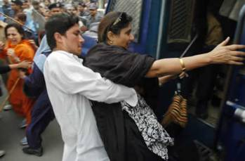 women protestors manhandled