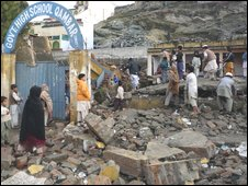 A school destroyed by militants in Saidu Sharif in Swat